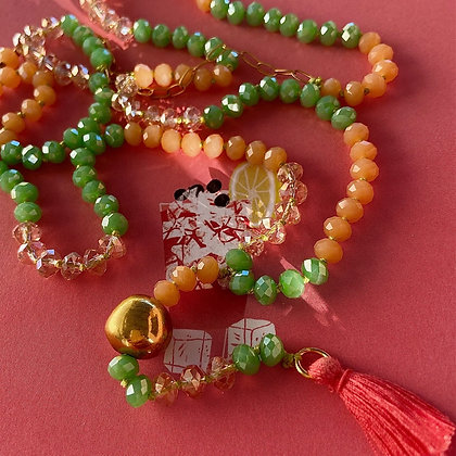 CORAL GREEN TASSEL NECKLACE