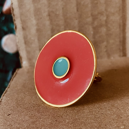 CORAL RED ROUND RING
