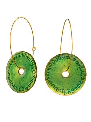 EMERALD GREEN DISC EARRINGS