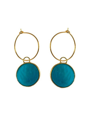 AZURE BLUE SMALL DISC EARRINGS