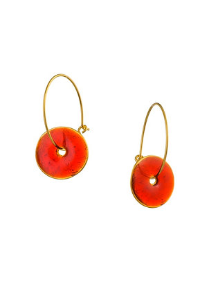 CARNELIAN SMALL DISC EARRINGS
