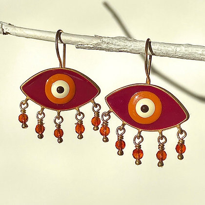 RUBY RED RAINY EYES EARRINGS