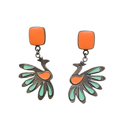 CORAL PEACOCK EARRINGS