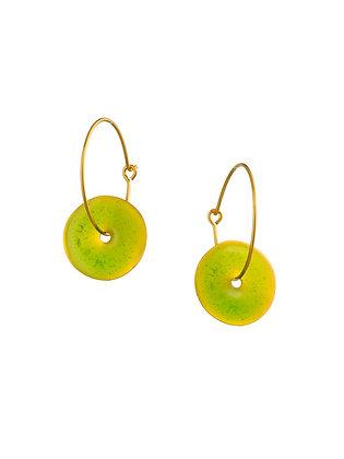 LEMON GREEN SMALL DISC EARRINGS