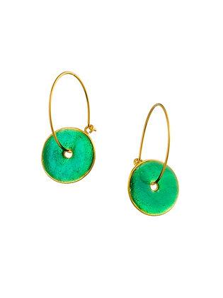 SAPPHIRE GREEN SMALL DISC EARRINGS