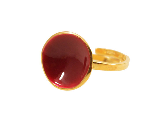 WINE RED DOT RING