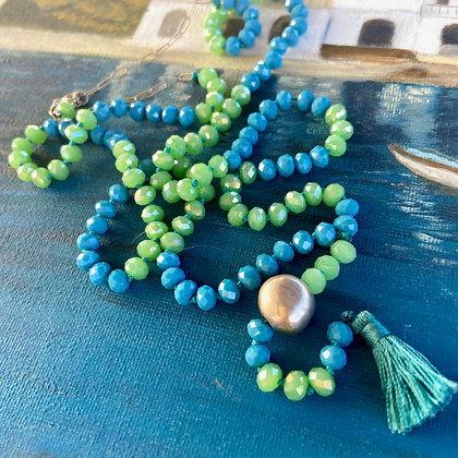 BLUE GREEN TASSEL NECKLACE