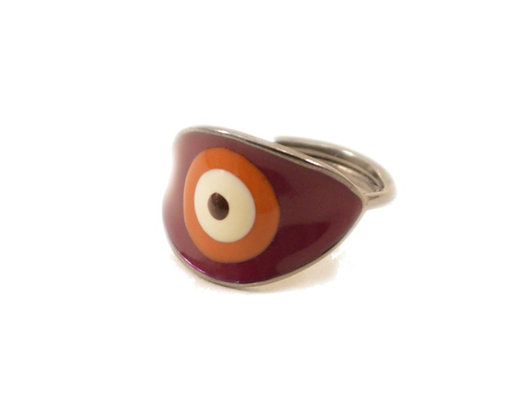 MOROCCAN RED EVIL EYE RING