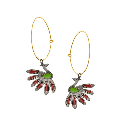 RED CHARCOAL PEACOCKS ON HOOPS