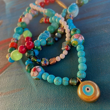 CATCHY COLOURFUL EVIL EYE NECKLACE