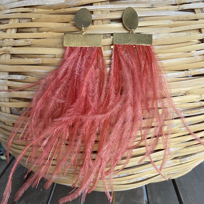 CORAL FEATHERS  EARRINGS