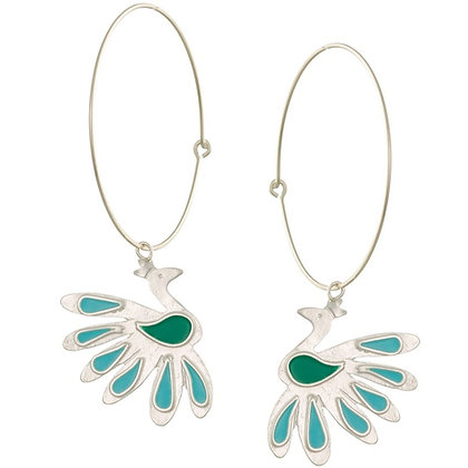 GREEN TURQUOISE PEACOCKS ON HOOPS