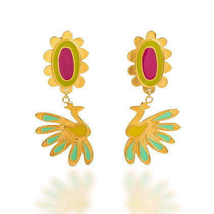 VIVID BLOOMING PEACOCKS EARRINGS