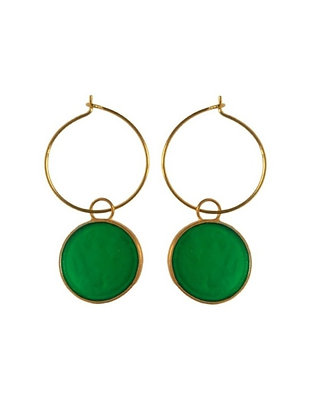GREEN CLOVER SMALL DISC EARRINGS