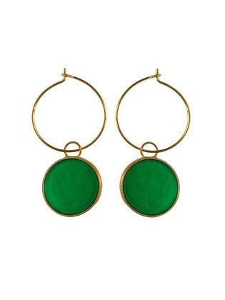 GREEN CLOVER SMALL DISC EARRINGS