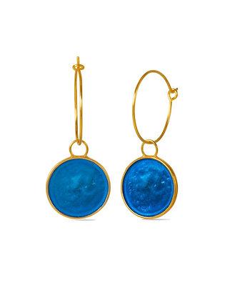 SAPPHIRE BLUE SMALL DISC EARRINGS