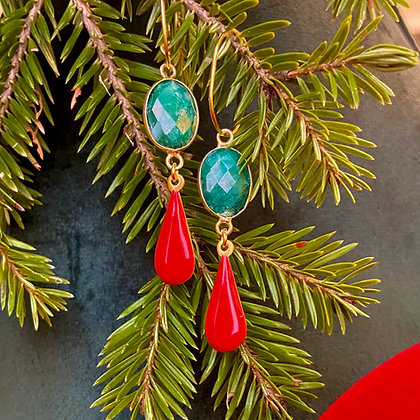 OCEAN GREEN AND CORAL LACRIMA EARRINGS