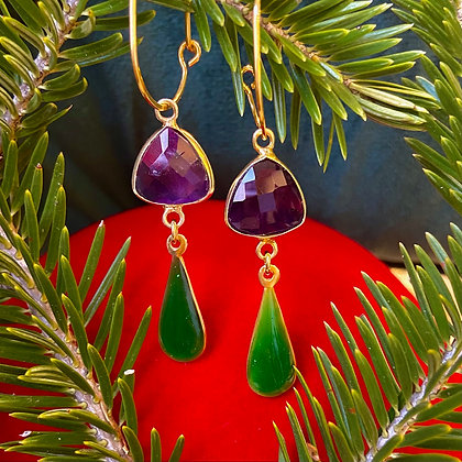 CHARMED VIOLET AND GREEN LACRIMA EARRINGS