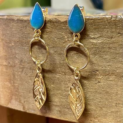 EXOTIC BLUE LEAF EARRINGS