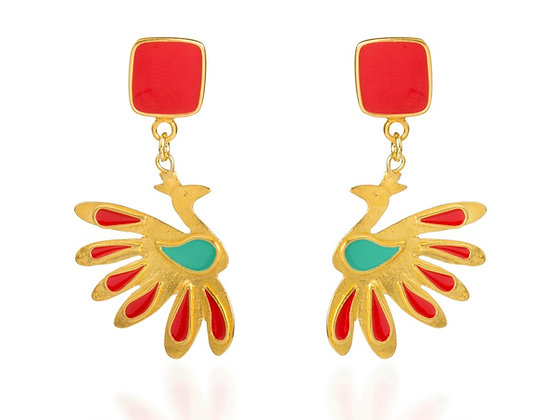 CANDY RED PEACOCK EARRINGS
