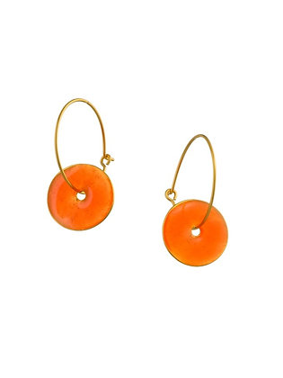 ORANGE GOLDFISH SMALL DISC EARRINGS