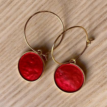 POPPY RED SMALL DISC EARRINGS