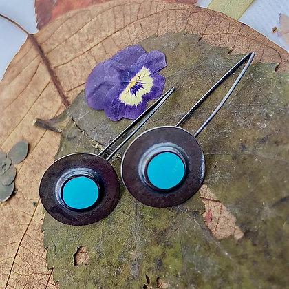 SKY BLUE DISC EARRINGS