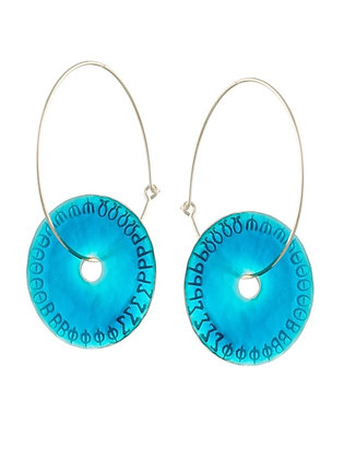 AQUA BLUE DISC EARRINGS