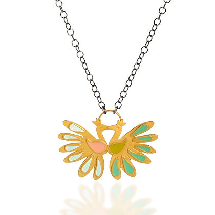 KISSING PEACOCKS NECKLACE
