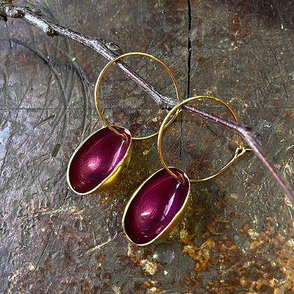 RUBY RED  SMALL PISTACHIO EARRINGS