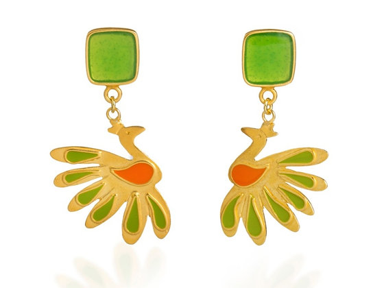 LIME PEACOCK EARRINGS