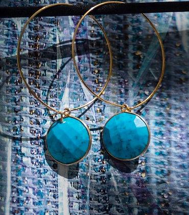 PEACOCK BLUE HOOPED EARRINGS