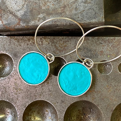 BLUE LAGOON ROUND DEEP COLOR EARRINGS