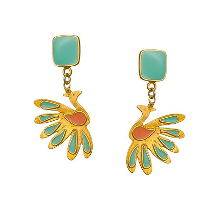 TEAL PEACOCK EARRINGS