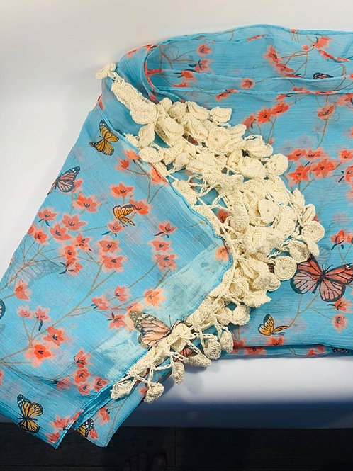Butterfly pale blue shawl