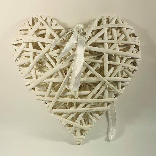 White wicker decorative heart