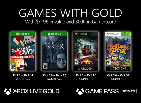 October 2020 Xbox Games with Gold revealed