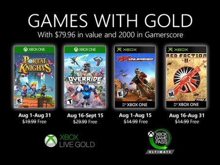 August 2020 Xbox Games with Gold revealed