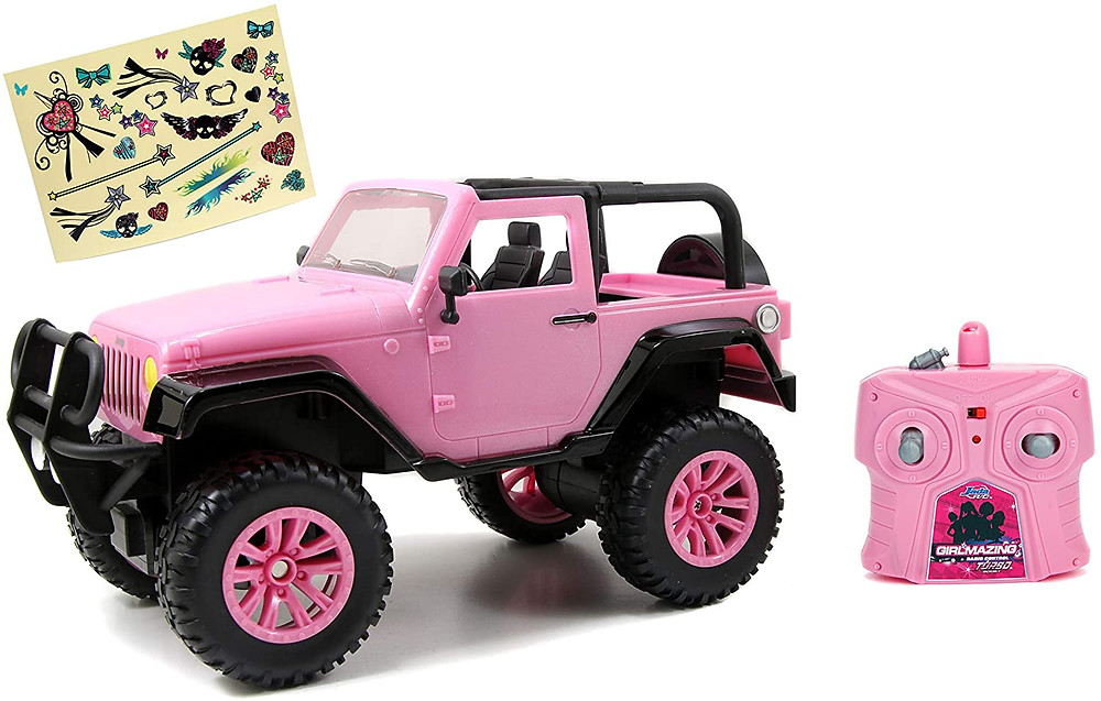 Pink RC car with stickers for girls and kids