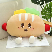 Stuffed Food - This adorable plushie will make anyone happy.  Hotdog Plush toy makes a great gift for babies, boys, girls, family or friends. Stretchy and squishy bean toy, great as a pillow or just for hugs, also useable as a home decoration.