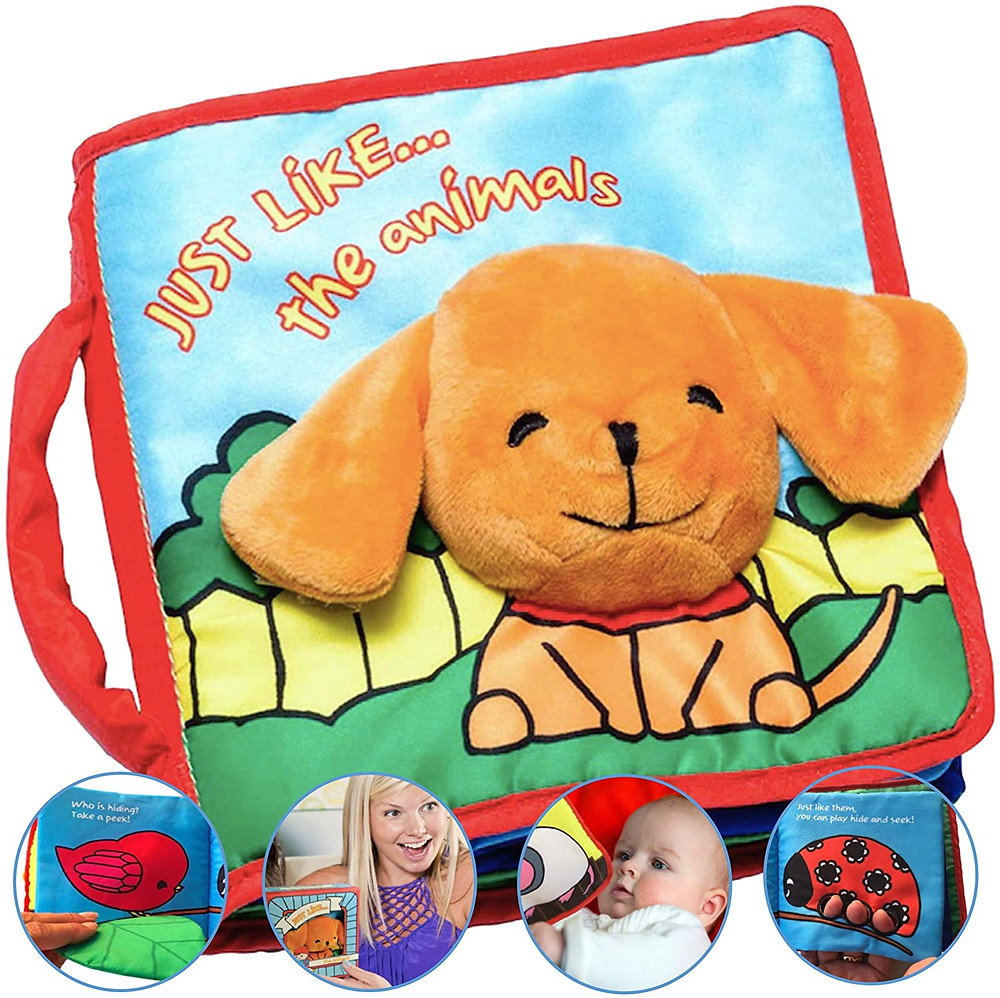 Plush toy book for kids safe for babies rhymes soft to touch washable