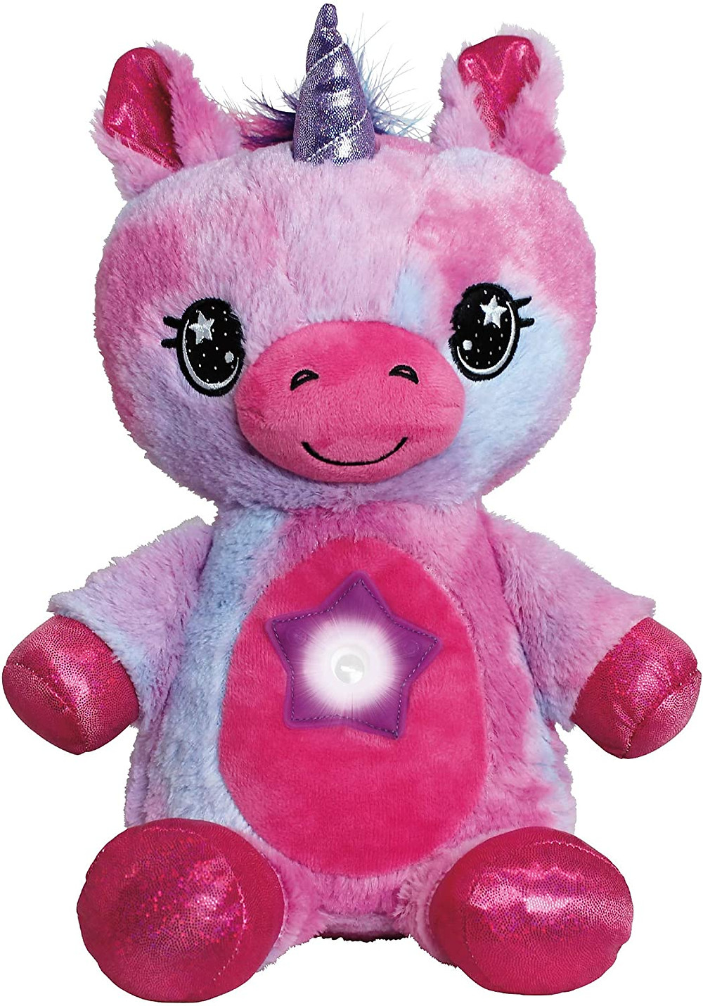 Plush toy doll unicorn for kids with night light lamp glowing stars and objects