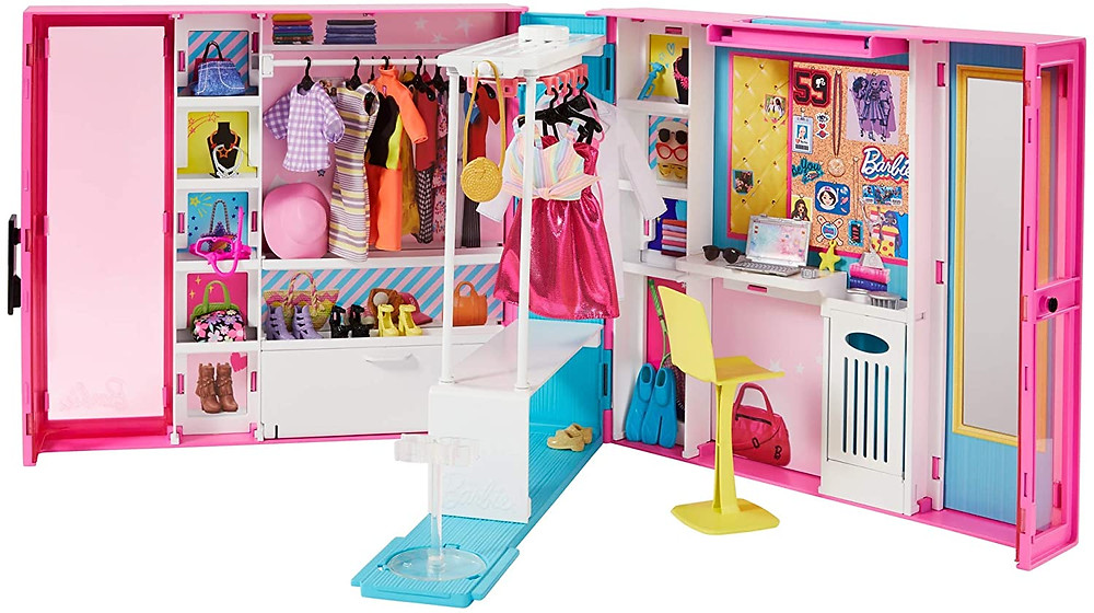 Barbie's fashion dream closet for girls with dolls