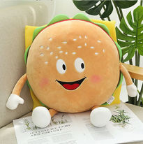 Stuffed Food - This adorable plushie will make anyone happy. Hamburger Plush toy makes a great gift for babies, boys, girls, family or friends. Stretchy and squishy bean toy, great as a pillow or just for hugs, also useable as a home decoration.