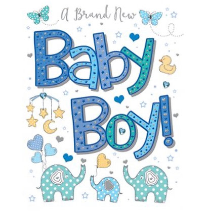 Pizzaz Range - Baby Boy Card