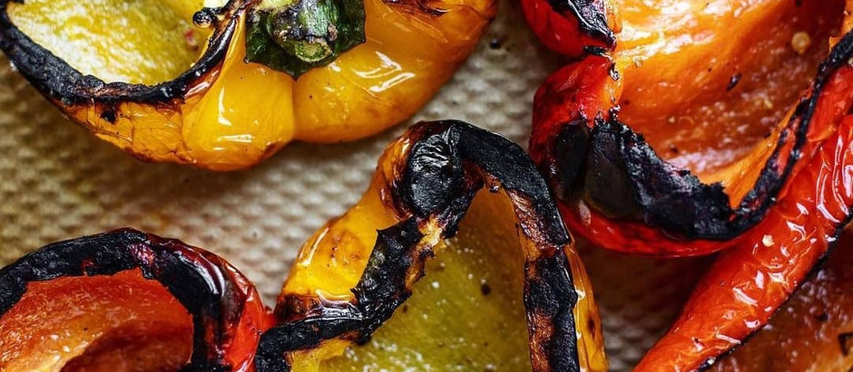 Grilled Marinated Peppers with Burrata and Breadcrumbs