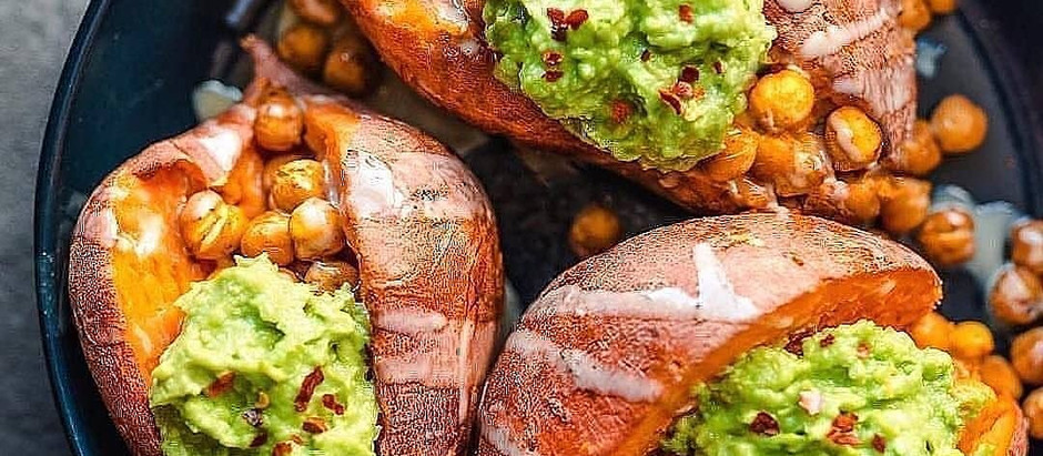 Baked Sweet Potatoes loaded with tandoori spiced chickpeas