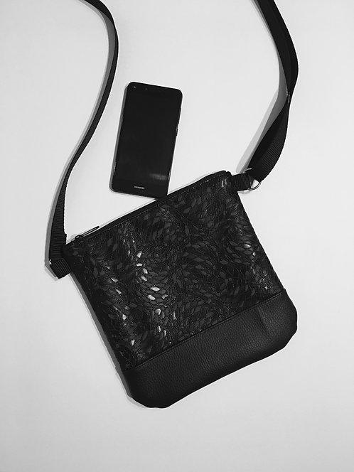 Black vegan leather small crossbody purse