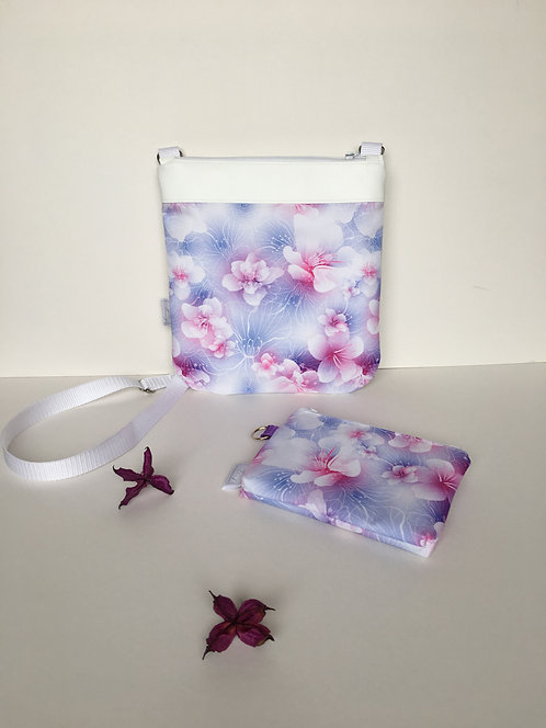 Small floral set of handbag and small cosmetic/ make-up bag