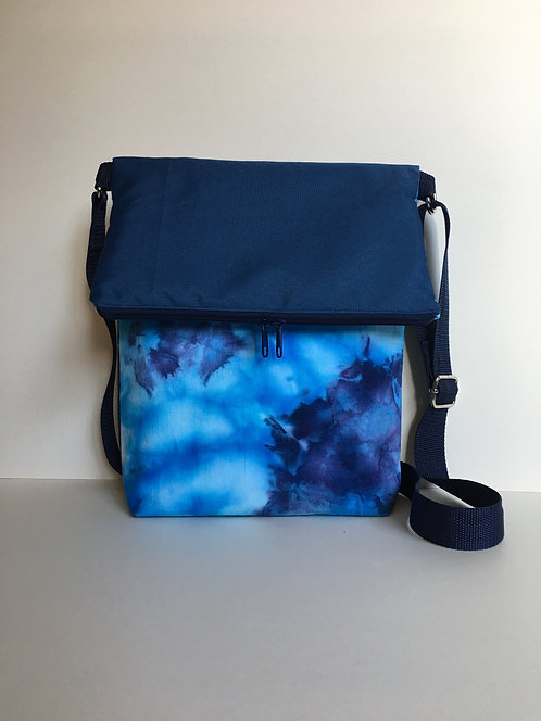 Blue fold over crossbody bag